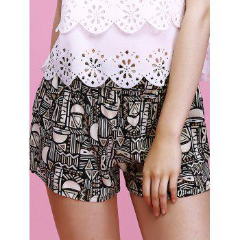 Charming Geometric Print Elastic Waist Slimming Women's Shorts