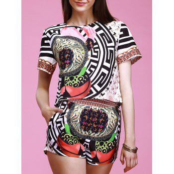 Chic Ornate Printed Round Collar T-Shirt + Pocket Design Elastic Waist Shorts Women's Twinset