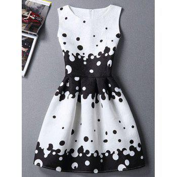 Polka Dot Sleeveless Round Neck Women's Dress