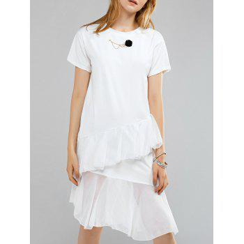 Simple Style Round Neck Short Sleeve Floral Embellished Layered Dress For Women