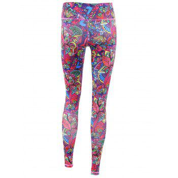 Trendy Printed Multicolor High Stretchy Women's Yoga Pants - COLORFUL XL