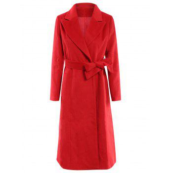 Noble Solid Color Lapel Extra Long Wool Coat For Women