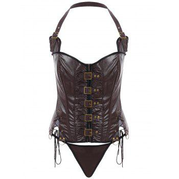 Stylish Solid Color Halter PU Leather Corset Women COFFEE
