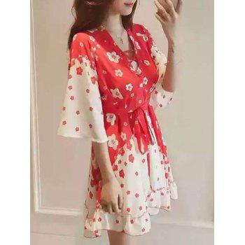 Chic Women's Lace Up Floral Print Dress