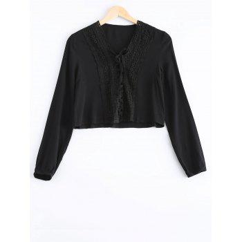 Stylish Women's Long Sleeves Lace Panelled Blouse - BLACK BLACK