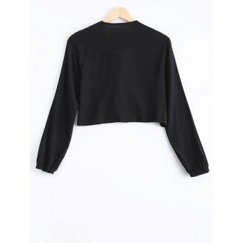 Stylish Women's Long Sleeves Lace Panelled Blouse - BLACK ONE SIZE(FIT SIZE XS TO M)