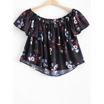 Stylish Women's Off The Shoulder Ruffle Floral Crop Top