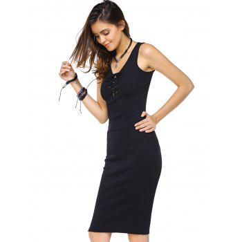 Stunning Sleeveless  Sheath Knit Knee Length Lace Up Dress For Women - BLACK M