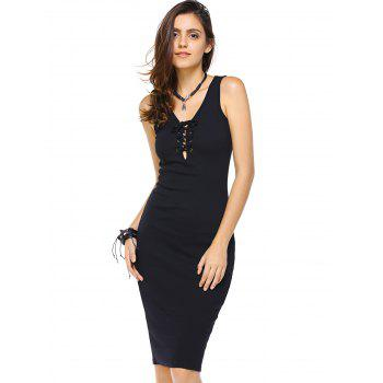 Stunning Sleeveless  Sheath Knit Knee Length Lace Up Dress For Women