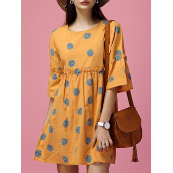 Polka Dot Ruffled Smock Dress