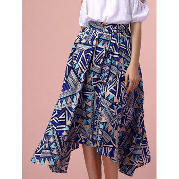 Trendy Geometric Pattern High Low Midi Skirt