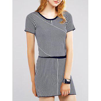 Refreshing Women's Pinstriped Tee and Skirt
