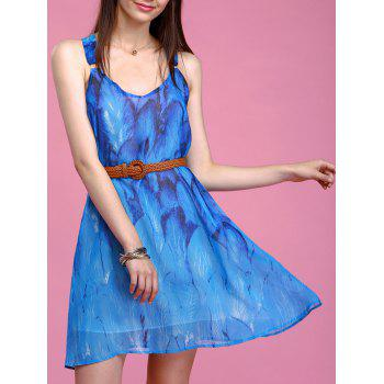 Refreshing Feather Print Sleeveless Chiffon Dress For Women