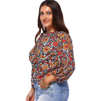 Chic Plus Size Floral Print Keyhole Neck Women's Blouse - COLORMIX 5XL