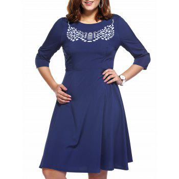 Brief Plus Size Printed 3/4 Sleeve Women's Flare Dress