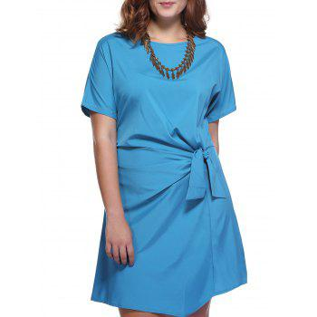 Chic Plus Size Bowknot Embellished Solid Color Women's Dress