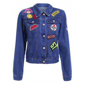 Chic Women's Shirt Collar Long Sleeve Patchwork Topstitching Denim Jacket