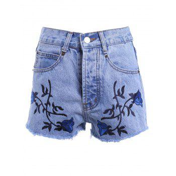 Vintage Style Women's High Waist Raw Edged Floral Embellished Denim Shorts