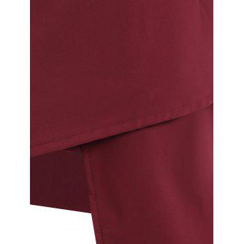 Slimming Women's Stand Neck Asymmetric Dress - WINE RED M