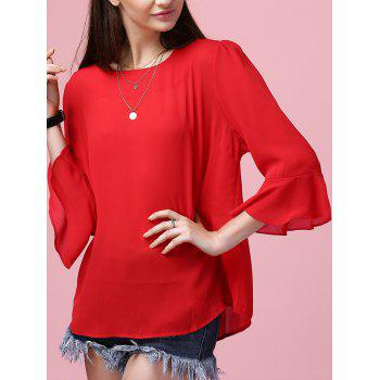 Women's Flare Sleeve Round Neck Chiffon Blouse