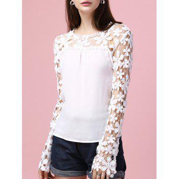 Lace Splicing Hollow Out Long Sleeve Blouse