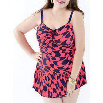 Stylish Women's Plus Size Printed Ruffled One-Piece Swimsuit