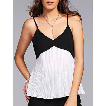 Fashionable Splice Pleated Spaghetti Strap V-Neck Tank Top For Women
