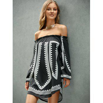 Long Sleeve Off-The-Shoulder Printed Women's Dress