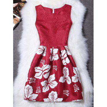 Stylish Round Neck Sleeveless Floral Women's Dress