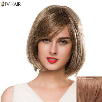Attractive Women's Side Bang Medium Bob Style Siv Human Hair Wig