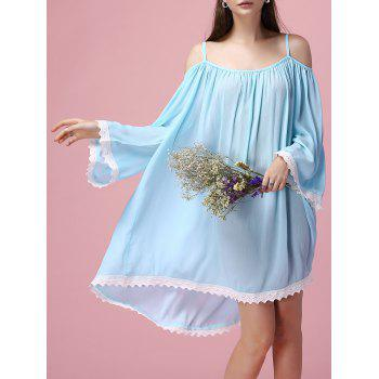 Lace Spliced Long Sleeve Spaghetti Strap Dress