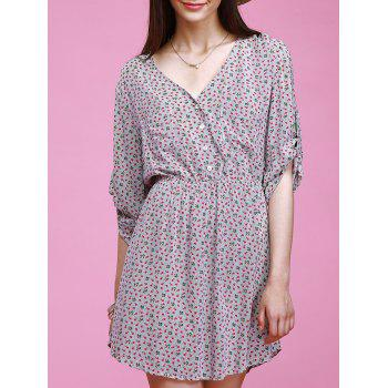Chic 3/4 Sleeve V-Neck Button Design Tiny Floral Print Women's Dress