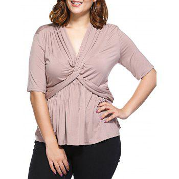 Fashionable V-Neck Fitted Tangle Up Top For Women - APRICOT APRICOT