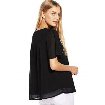 Button Ruffle Chiffon Top - BLACK BLACK