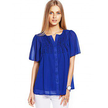 Button Ruffle Chiffon Top - BLUE XL