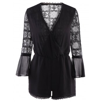 Stylish Style V-Neck Lace Splicing See-Through Long Sleeve Romper For Women