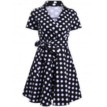 Vintage V-Neck Polka Dot Belted Midi Dress For Women
