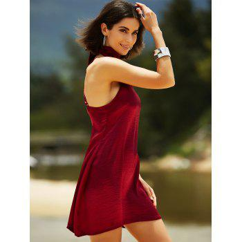 Stylish Cami Pure Color Satin Women's Dress - WINE RED XL