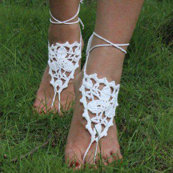 Pair of Gorgeous Embellished Triangle Clover Anklets For Women - WHITE WHITE