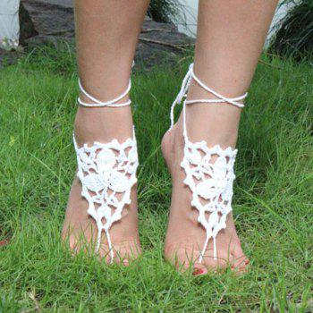 Pair of Gorgeous Embellished Triangle Clover Anklets For Women -  WHITE