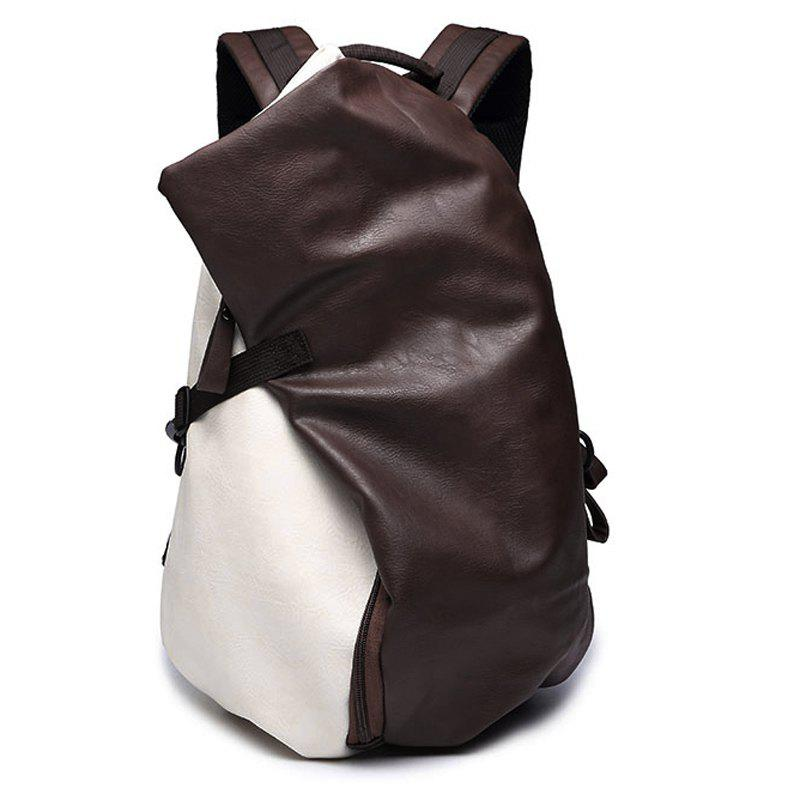 Fashionable PU Leather and Colour Block Design Men's Backpack - WHITE/BROWN