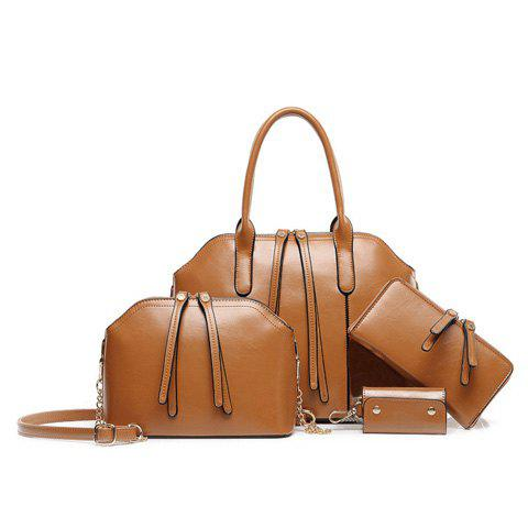 Elegant Solid Color and Zipper Design Tote Bag For Women - BROWN