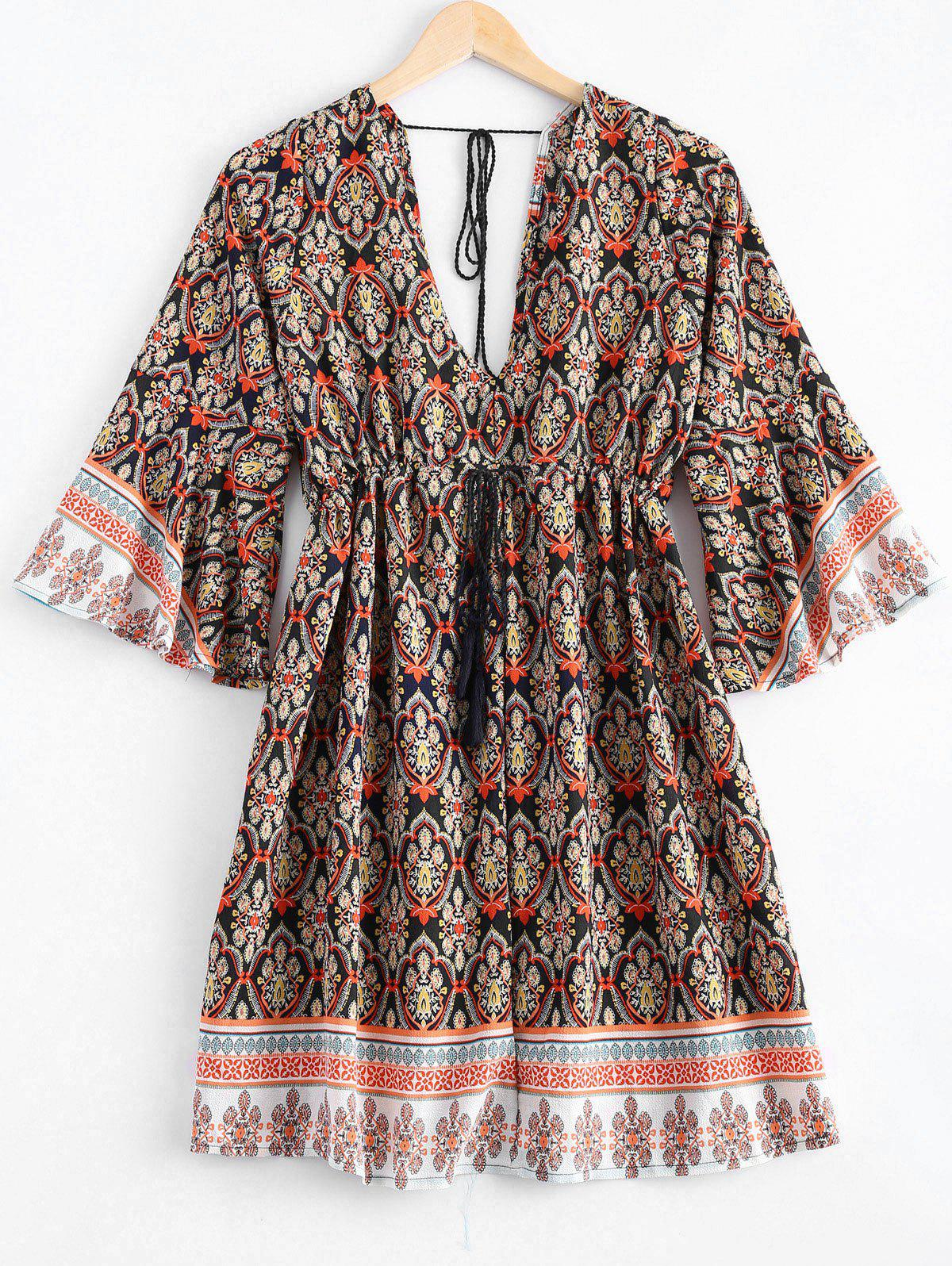 Ethnic Style Printing Fringe Lace Up Plunging Neck Dress For Women