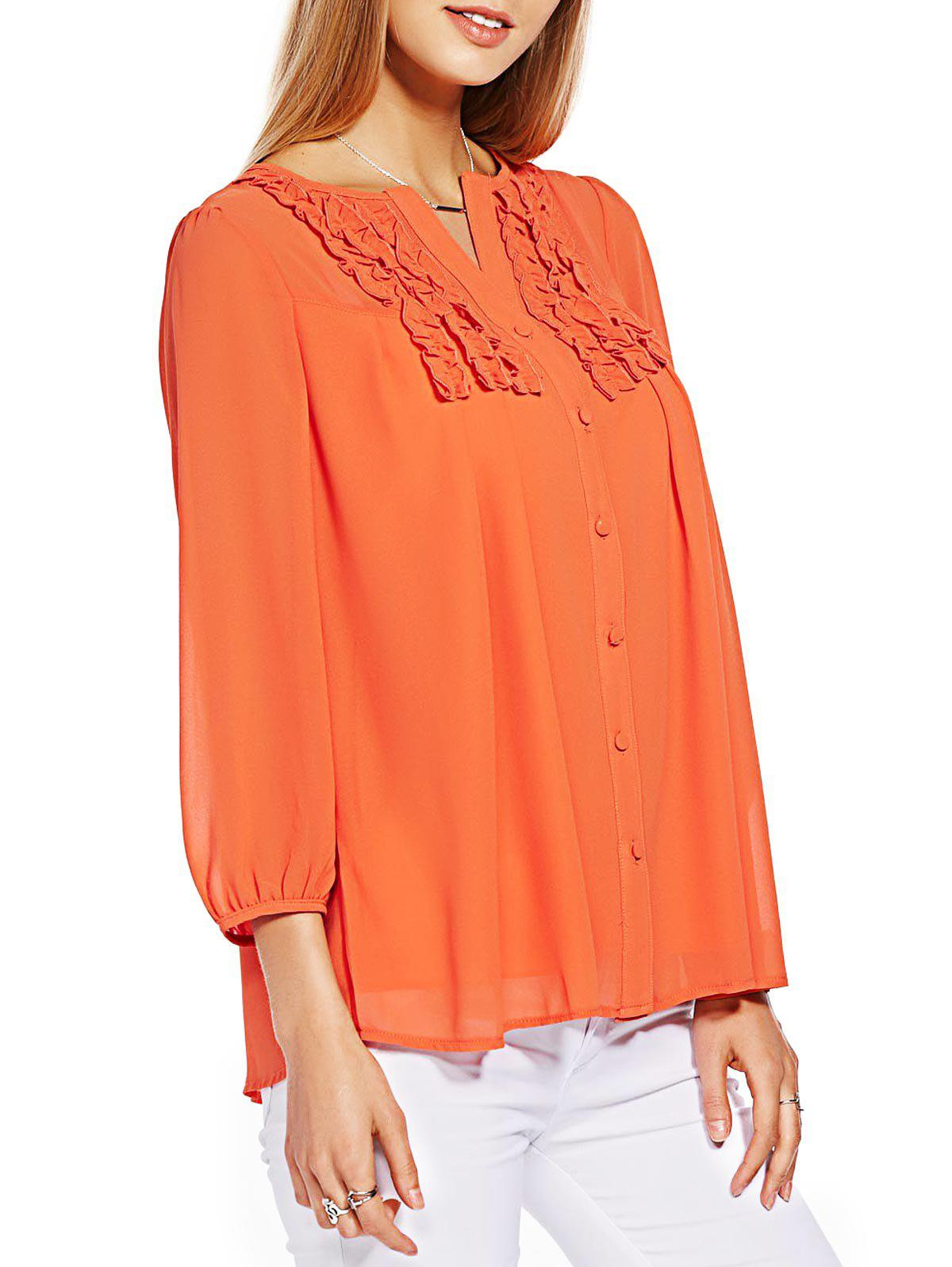 Button Ruffle Chiffon Top - ORANGE 3XL