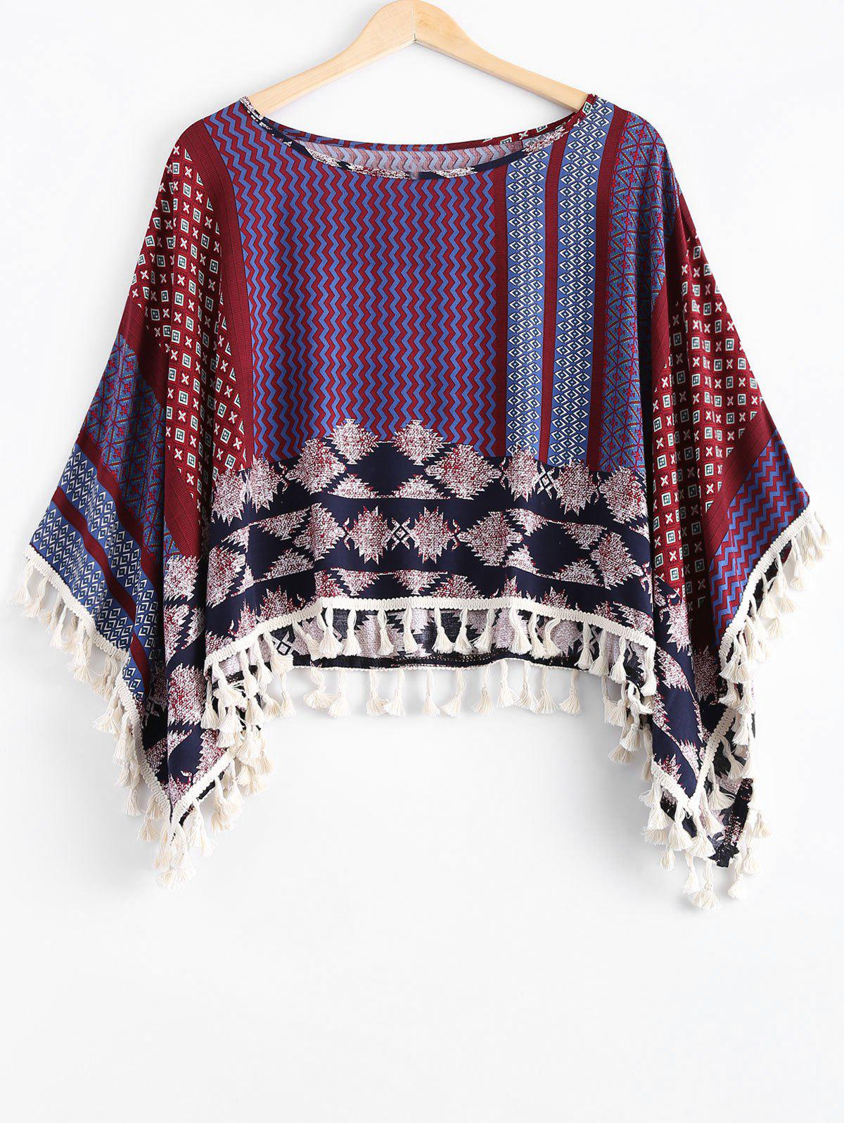 Ethnic Style Scoop Neck Print Tassel Cape For Women - DARK RED ONE SIZE(FIT SIZE XS TO M)