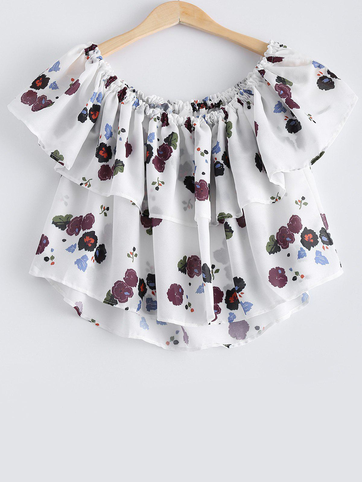 Stylish Women's Off The Shoulder Ruffle Floral Crop Top - WHITE ONE SIZE(FIT SIZE XS TO M)
