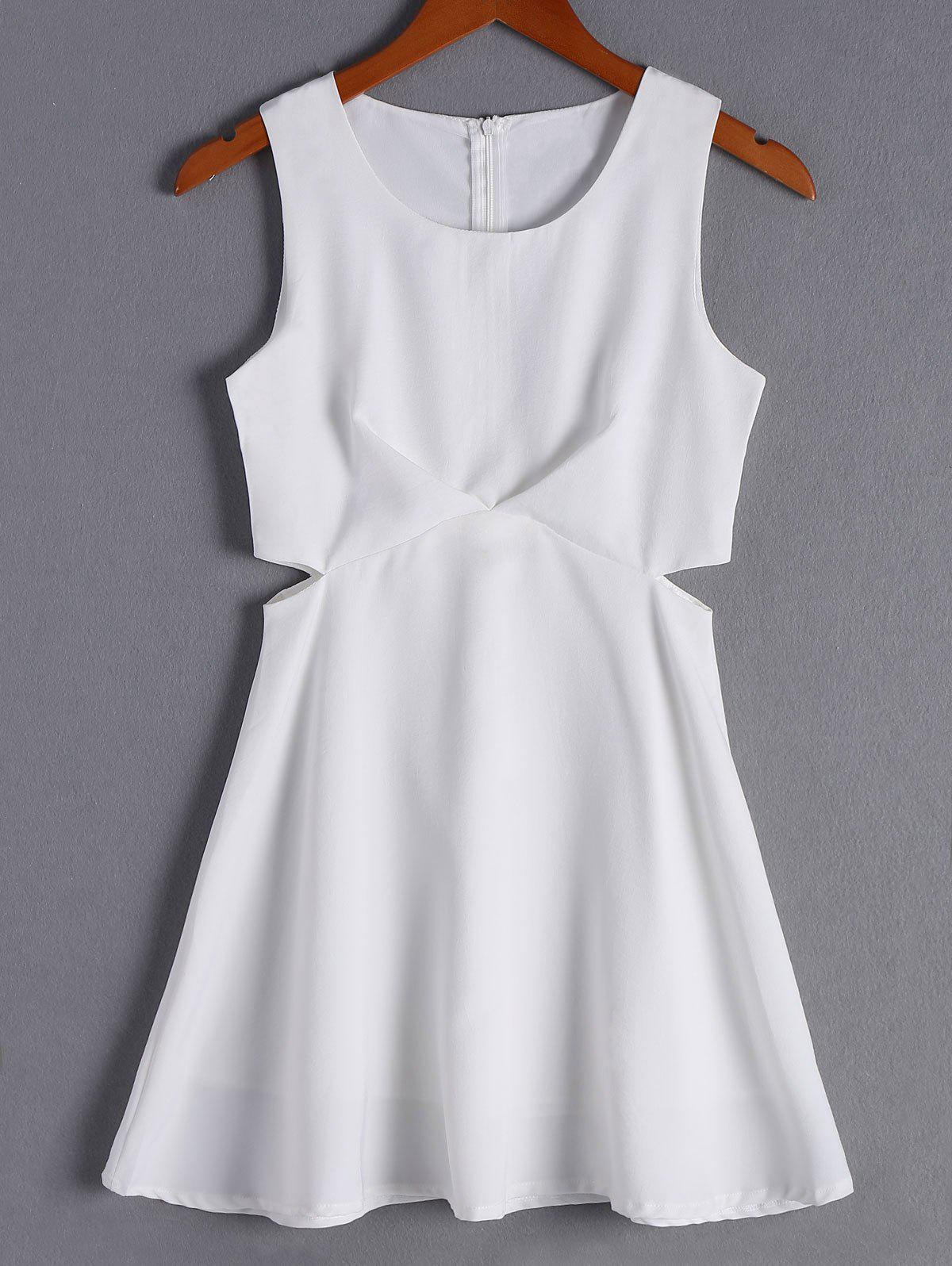 Simple Women's Solid Color Scoop Neck Cut Out Sleeveless Flare Dress - WHITE M