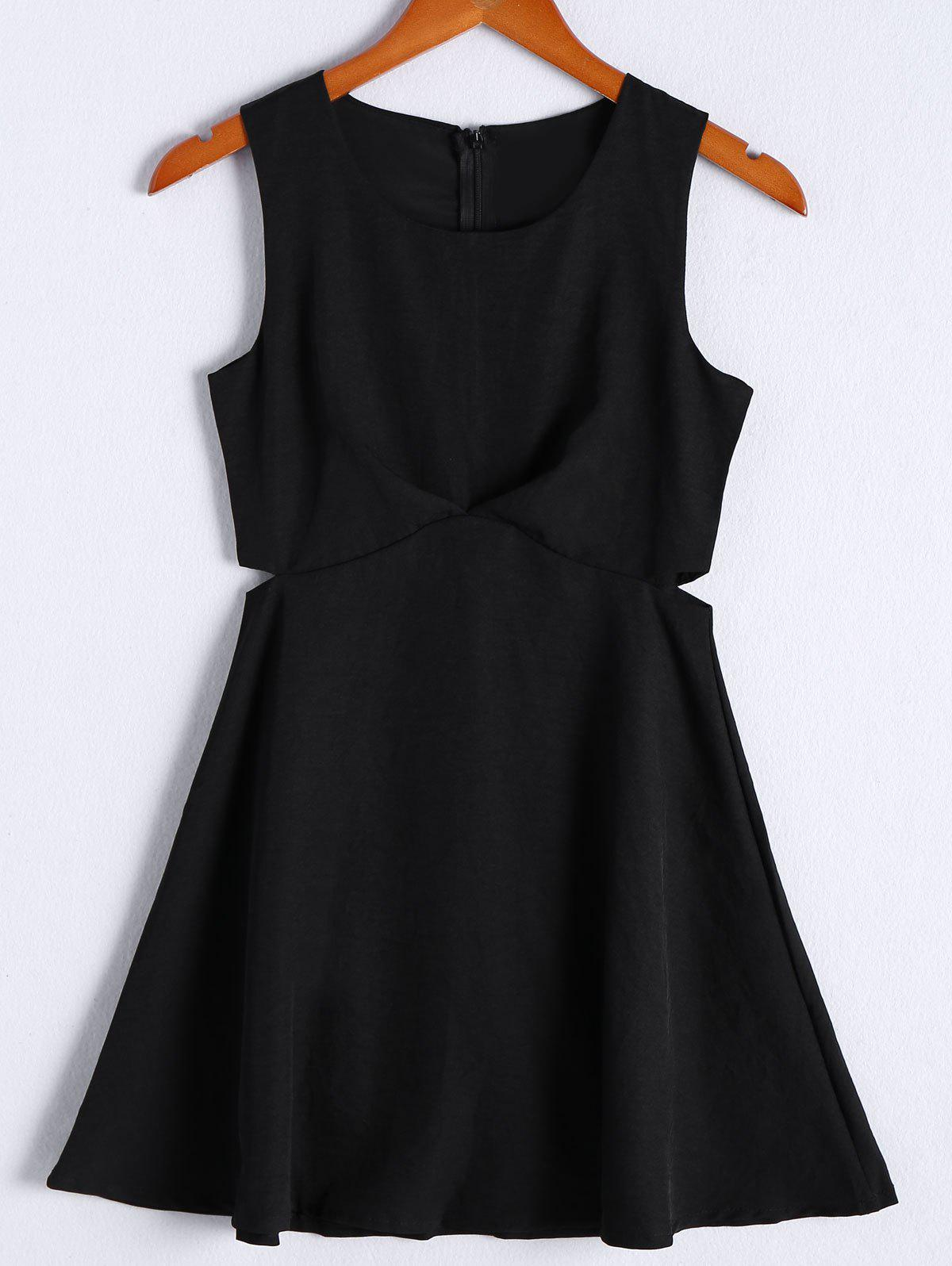Simple Women's Solid Color Scoop Neck Cut Out Sleeveless Flare Dress - BLACK L