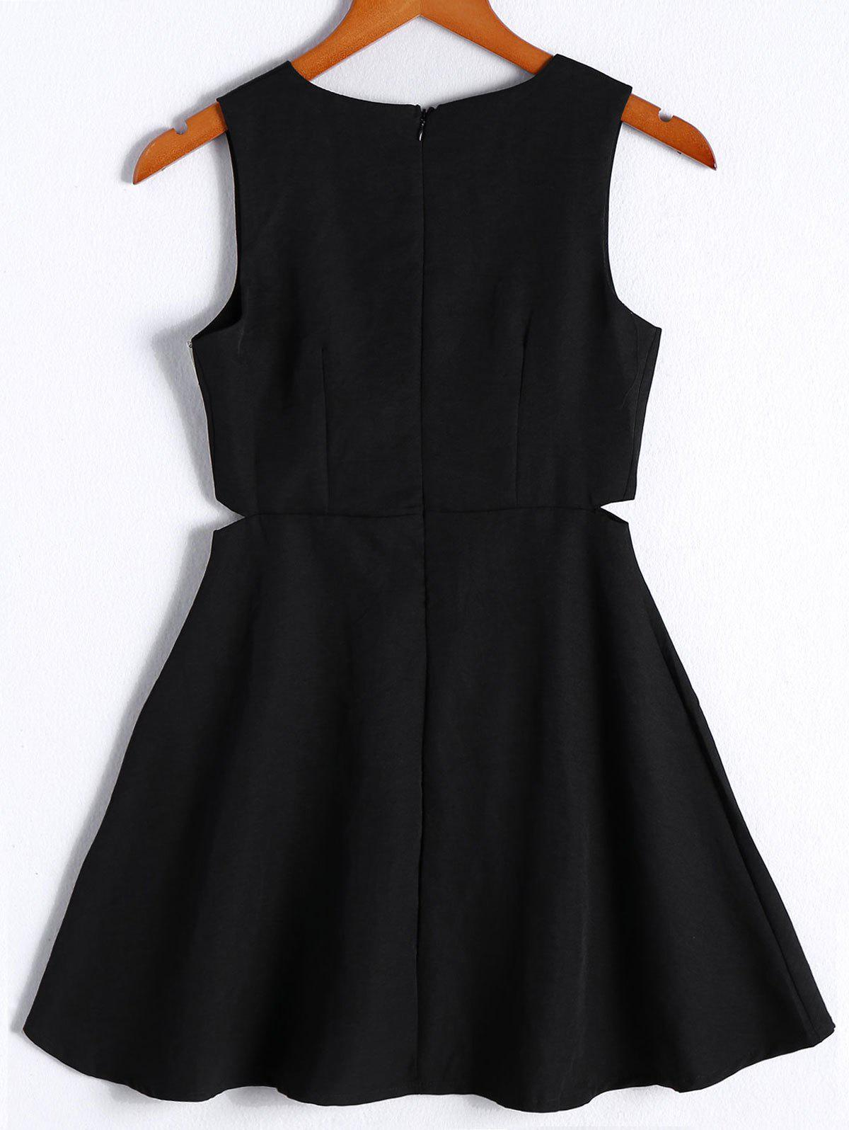 Simple Women's Solid Color Scoop Neck Cut Out Sleeveless Flare Dress - BLACK M