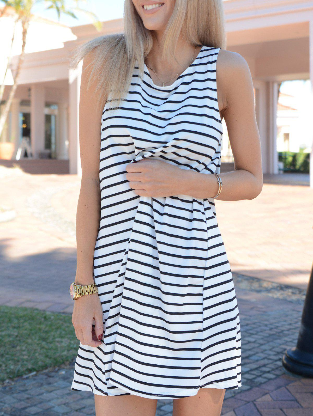Tunic White Black Sleeveless Striped Dress 129903102